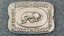 Bowing Horse Silver Belt Buckle Western Cowboy Look Square Native Edge