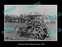 OLD 8x6 HISTORIC PHOTO OF JOHN DEERE PLOW CULTIVATOR TRACTOR PHOTO c1920