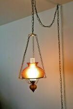 Vintage Amber Glass Hurricane Hanging Ceiling Lamp Light Working Great Condition
