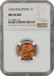 1958 PHILIPPINE 1C MS 66 RD ONLY 3 GRADED HIGHER!