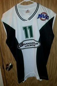 Black & White MANHATTAN  #11 Lacrosse Jersey Man Large