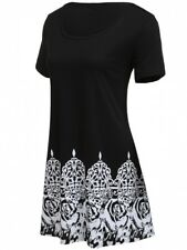 Mishi - Beautiful Ladies Size 8-10 Black White Print Cotton Blend Tunic Dress
