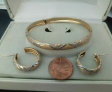 10k White & Yellow Gold  Bangle and Earring Set by Friedman's
