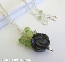 Onyx Rose Peridot Jaspis Anhänger-Kette 925 Silber Design Collier Blume Blüte