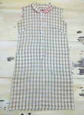 HOUSE DRESS - Vtg 60s Beige & Tan Plaid Sleeveless Apron Southern Charm, Medium