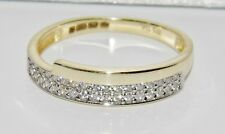 9ct Yellow Gold 0.15ct Crossover Eternity Wedding Ring size N - UK Hallmarked