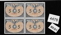 MNH 1940 stamp block / 5 ZL / WWII /  Occupied Poland / Third Reich Germany