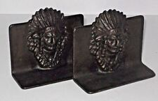 Pair Of Vintage Cast Iron Indian Chief Bookends Book Ends