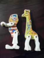 Lot of 2 Vintage Wood and Plastic Toy Figures - Clown and Giraffe LOOK