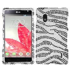 For Sprint LG Optimus G LS970 Crystal Diamond BLING Hard Case Phone Cover Zebra