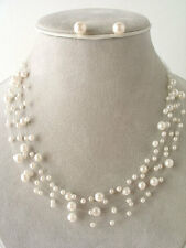 SIX ROW CREAM  FAUX PEARL INVISIBLE CORD NECKLACE EARRING SET