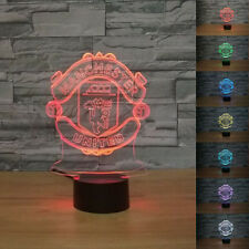 New 3D MANCHESTER UNITED Football Club Night Light 7 Color Change LED Table Lamp
