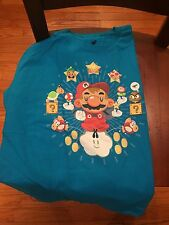 Teefury Men's LARGE L Blue T-Shirt The One Up The One-Up Super Mario Brothers