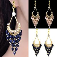 """#c101 Clip-On Non-Pierced 3"""" Long Chandelier Crystals Beads Dangle Earrings New"""