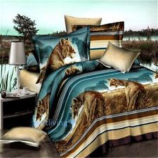 Brown Lion Queen Bed Quilt/Doona/Duvet Cover Set Pillow Cases High Quality