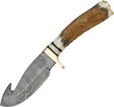 Damascus Guthook Skinner Knife DM1008
