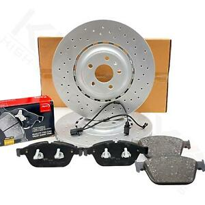 FOR AUDI SQ5 13-17 FRONT DRILLED BRAKE DISCS APEC PADS WEAR SENSOR WIRES 380mm