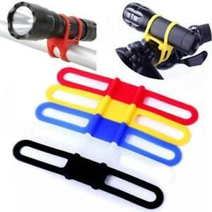 Silicone Elastic Strap Bike Handlebar Flashlight Phone LED Holder Torch Mount *
