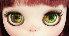 Blythe Doll Realistic Glass Eye Chips - Green and Gold EyeChips US SELLER