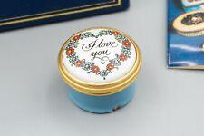 Halcyon Days Enamel Trinket Box, Floral – I Love You – Light Blue, White, Red