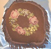 VINTAGE Pillow NEEDLEPOINT Floral Round BROWN VELVET Backing Tassle Trim