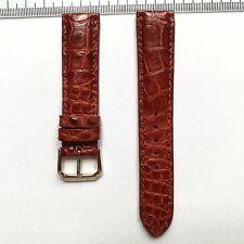 CROCODILE ALLIGATOR Wrist Watch Strap 20mm, REAL LEATHER, Brown 2461