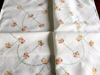 Vintage Hand Embroidered  Orange Daisy White Linen Tablecloth 33x34 Inches