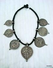 ancient antique tribal old silver amulet pendant necklace hindu god goddess