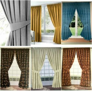 Pair Of Jacquard Pencil Pleat Curtains Tape Top Fully  Lined