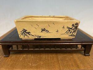 "Rare Hand Painted Shohin Size Glazed Bonsai Tree Pot By Gyomu 3 3/4"""
