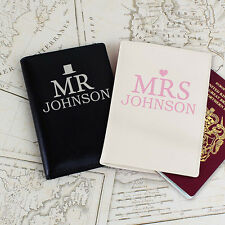 Mr & Mrs Passport Covers PERSONALISED Bride & Groom Leather Wedding Gift P101477
