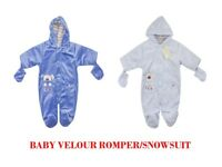 BABY BABIES BOYS BABALUNO LINED VELOUR ROMPER SNOWSUIT JACKET