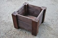 Medium Squre Wooden Pot 35x35x30 cm of Solid Wood Spruce in Ebony Color