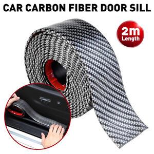 2M Car Black Carbon Fiber Scuff Plate Door Sill Cover Panel Step Protector Guard