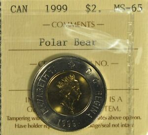 Canada 1999 Two Dollar - ICCS - MS65 -