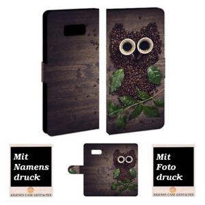 Samsung Galaxy Note 8 Handy Hülle Tasche mit Kaffee Eule Foto Bild Text Druck
