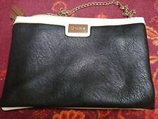 Dune Leather Handbag Large Clutch black cream & navy