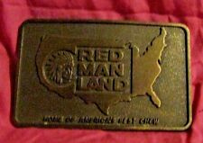 vtg Red Man land chew tobacco advertising belt buckle home of Americas best