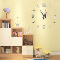 Modern Large 3D Mirror Surface Art Wall Clock Sticker Home/Office/Room Dau New