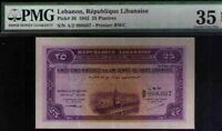 Lebanon 25 Piastres 12-1-1943  PMG 35 CHOICE VERY FINE EXCEPTIONAL PAPER QUALITY