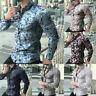 Men Turn-down Collar Floral Print Long Sleeve T-shirt Top Blouse Plus Size US