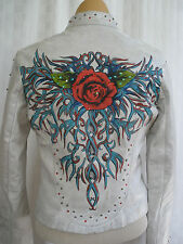 WILSONS RED ROSE TATTOO DISTRESSED AGED STUDDED LEATHER JACKET SIZE S HOT UNIQUE