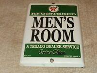 """VINTAGE """"TEXACO MEN'S RESTROOM"""" 7"""" PORCELAIN METAL BATHROOM, GASOLINE & OIL SIGN"""