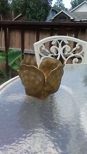 Heavy solid brass seashell pot planter vase ocean beach shack seafood clam