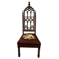 Antique Gothic Victorian Barley Twist Carved Walnut Needlepoint Tall Back Chair