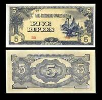 JAPANESE OCCUPATION BURMA 5 RUPEES ND 1944 P 15 UNC