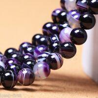 12mm Natural Purple Stripe Agate Round Gemstone Beads Loose Beads 15'' AAA