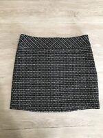 Ann Taylor Black White Tweed Pencil Mini Skirt Size 10P