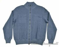 ISAIA Solid Blue 2 Pocket Cashmere Blend Full Zip Woven Sweater Mens - LARGE