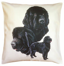 More details for newfoundland group breed of dog themed cotton cushion cover - perfect gift